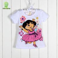 4pcs/lot baby girls summer Dora T-shirt/ kids cartoon t shirt /casual top tees /children short sleeve clothes