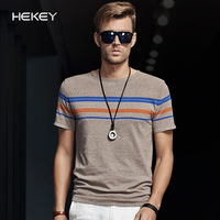 Black rider 2014 summer fashion brief stripe knitted male short-sleeve o-neck T-shirt 100% cotton male sweater