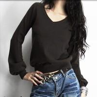 big sale spring atumn winter V-neck lantern sleeve cashmere Wool women sweater outerwear basic shirt pullovers