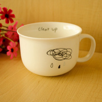 Free shipping Wholesale creative coffee cup ceramic mug mustache cup milk cup lovers cup zakka Large one 220ml