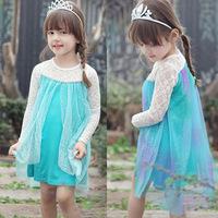 Vestidos Infantis 2014 New Frozen Romance Elsa Fantasy Girls Long Sleeve Dress Princess Children's Clothing Gauze Shawl 2 Colors