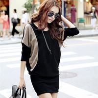 New Fashion Batwing Long Sleeve Cotton Casual Dress Sexy Women Novelty Patchwork Autumn Winter Dresses Plus Size M L XL Black