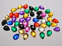 200 Mixed Color Acrylic Flatback Teardrop Rhinestone Gems 10x14mm No Hole