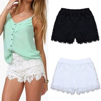 New Women Lady Elastic Shorts High Waist Lace Short Pants White Black Trousers free shipping
