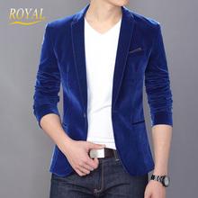 Men Slim Fit Velvet Blazer 2014 New Stylish Long Sleeve Royal Blue/Black Suits For Man Terno Masculino Plus Size M L XL XXL XXXL(China (Mainland))