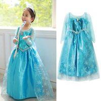 5pcs/lot Girls Children Clothing Frozen Princess Queen Elsa Gown Dress Up Kids Party Fancy Cosplay Dresses Costume 3-8Y
