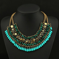 Europe&USA New exaggerated statement vintage weave chains necklace jewelry for party,big brand star fashion shamballa necklace