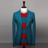 New arrival 2014 Pure Simple two button Woolen men's suit Casual fashion comfortable Men blazer Three colors Wholesale MWN059