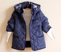 2014 new fashion  Hooded thick cotton-padded outwear Coats For  boys  Plaid  jacket clothes winter Children clothing