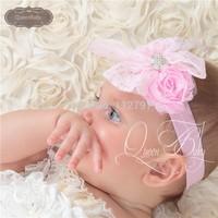 20pcs/lot Double Shabby Flower Matching Lace Bow With Elastic Headband Baby Girl Headband