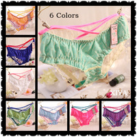 E005 Free Shipping  New 6 PCS/lot Sexy Briefs Bow Lace Mesh Lucency Hollow out Flower Women's Panties Fitness Girl's Underwear