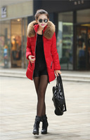 2014 New Fashion Winter Thick  Medium Style Coat Faux Fur Collar slim S-4XL Down Jacket YS8342