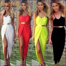 New 2014 Summer Women Neon Asymmetry Slit Beach Dress Ladies Black,White,Red Party Evening Maxi Dresses Sexy Club Vest Dress(China (Mainland))