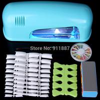 NEW 9W Blue UV Lamp Gel Polish Curing Dryer Light Machine UK Plug With Acrylic Nail Art Tools Kit Set