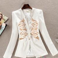 New 2014 Basic Jackets Women blazer feminino gold stickers Slim sequined balzer women suits jacket casacos femininos SY1578