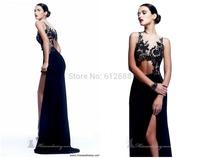 2014 New Design Elegant Sheath O-Neck With Jacket Sequined Sleeveless Side Split See Through Floor Length Long Prom Dresses