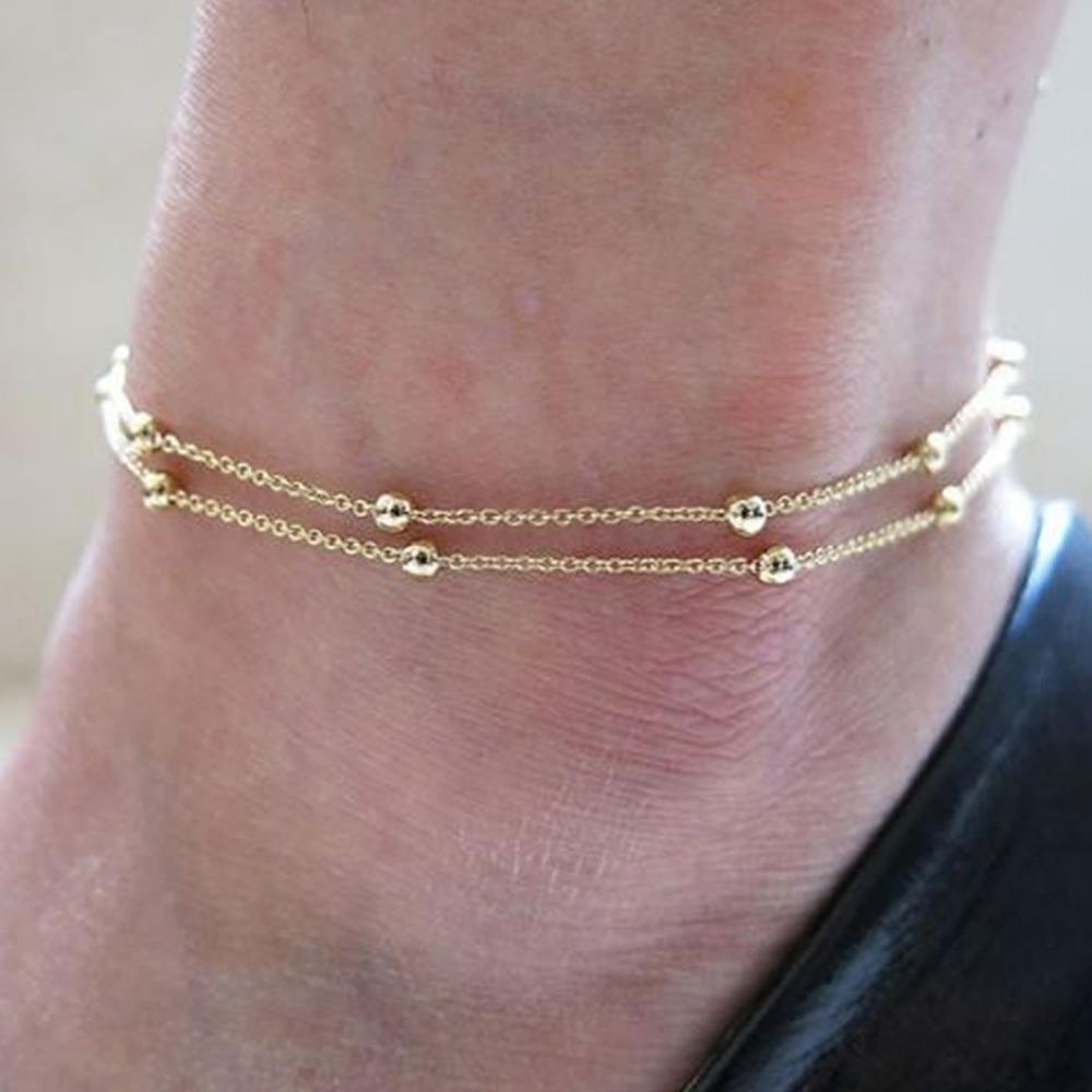 Spedizione gratuita chic doppio oro catena cavigliera braccialetto