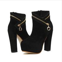 2014 Han edition autumn winter waterproof platform zipper decoration thick short boots boots Martin boots 1026-3