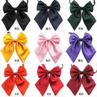 Wholesale Pure Solid Color Girls School Uniform Cravat Professional Women Accessories Bow Tie Butterfly Knot