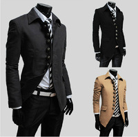 2014 Autumn Winter Men's Slim Design Woolen Trench Coat Man Slim Jit Jacket