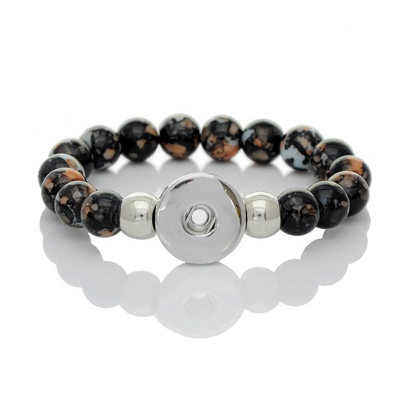 2015 New 1PC DIY Stretch Bracelet Fit Snap Button Black Acrylic Beads 21cm Free Shopping(China (Mainland))