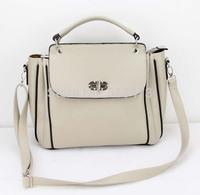 H009(beige)Fashion vintage women handbag,Two function,pu leather bag&1 shoulder straps,7 different colors,31x25cm,Free shipping!