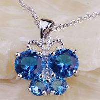 Wholesale Noble Unique Design Blue Topaz   Silver Chain Pendant Necklace Fashion Stone Jewelry  For Women  Free Shipping