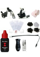 Free shipping Complete Tattoo Machine Equipment Set Starter Kit 1 Guns Supply Body Art  5ml ink