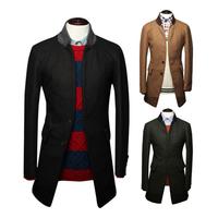 Winter 2014 Popular Handsome Contrast color collar Simple long section Men's woolen coat jacket Three colors Wholesale MWN061