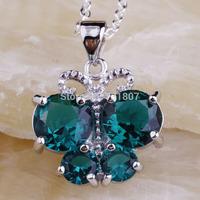 Wholesale Fascinate Unique Design Green Topaz   Silver Chain Pendant Necklace Fashion Stone Jewelry  For Women  Free Shipping