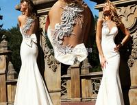 2014 New Design Elegant Mermaid Sweetheart One Shoulder Beading Sleeveless See Through Sexy Floor Length Long Prom Dresses