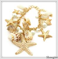 2014 Fashion Ocean Style Multi Starfish Sea Star Conch Shell Pearl Chain Beach Bracelets Bangles Novelty Hot Selling