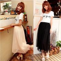 Bohemia female girly tulle skirt long half-length solid color skirt high waist lace beach summer basic women's skirt