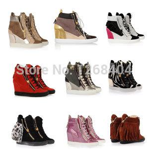Nova chegada giuseppee fashion sneakers alta qualidade genuína mulheres de couro sapatilha gz ocasional sneaker 6 cm aumento sapatos(China (Mainland))