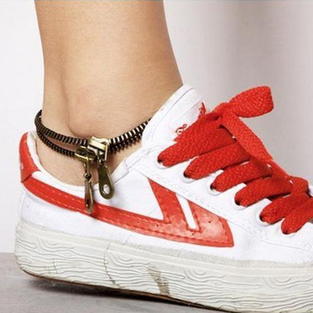Personality Double Layer Zipper Chains Anklet With Metal Zipper Pendants Punk Women Men Anklet SB360(China (Mainland))
