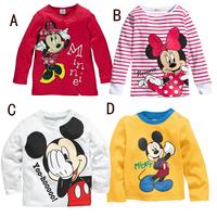 Design 1 piece Warm long-sleeve Blouses thicken Kids Outerwear Mickey Minnie Baby Girl/Boy sport Clothes, Children Shirts