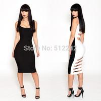 Hot Sale 2014 New summer Autumn Sexy Black  White Low-Cut Hollow cut Halter Dress Dresses Elastic Big Size Free Shipping km086