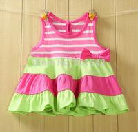 free shipping 2014 high quality 100% cotton baby summer dress princess dress vest dress NO BB2