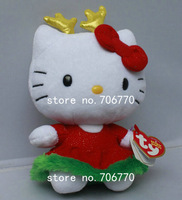 "NWT 2014 Sanrio Ty original ~KT Hello Kitty in ~Christmas Reindeer siut~ 6""STYLISH Stuffed Doll Plush toy FREE SHIPPING IN HAND!"
