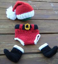 Natal Bebés Meninas Meninos Fotografia Prop Crian?a Crochet Knit Beanie Cap Hat + shorts + Conjuntos Cal?ados s Baby Costume(China (Mainland))