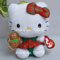 "NWT 2014 Sanrio Ty original Hello Kitty in ~Christmas Plaid skirt~ 6""~ STYLISH Stuffed Dolls Plush toy FREE SHIPPING IN HAND!"