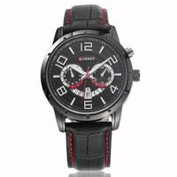 CURREN Brand Black Leather Watch Men Analog Display With Date Luxury Fashion Leisure Quartz Watch