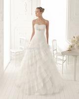 2014 Custom Made New Arrival High Quality Elegant Women Slim A-Line Sweetheart Tiered Ruffles Long Wedding Dresses Bridal Gowns