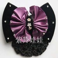 Hair accessory Hair Net Hairpin Bling Rhinestone Ribbon Bow Butterfly Hair Clips Hair Grip Satin Professional headdress flower