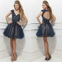 Sexy Black Lace Tulle Appliques Cap Sleeves V Neck Ruffles Beaded A line Backless Short Homecoming Dresses 2015