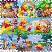 Factory price 9 Pcs per lot Cartoon Floor Mat Baby's Climb Blanket Eva Foam Puzzle Mat Game Carpet Winnie Crawling Rug PM003