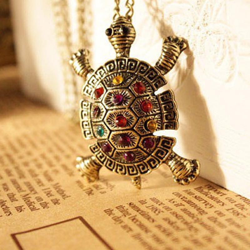 Free shipping 10Pcs new hot sele Wholesale Retro Turtle Tortoise Pendent Necklace Chain Coloured LS467(China (Mainland))