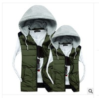 2014 Autumn Winter New Fashion LOVER Down Vest Detachable Hoodie Sleeveless Warm Padded Casual Coat