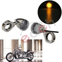 Led Turn Signal Light Indicator Front Motorcycle Amber Lamp For Harley Chrome