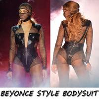 Summer 2014 New Beyonce Style Celebrity wear Sexy Jumpsuit Women Long Sleeve Rompers Womens Jumpsuit Sexy Short Mesh Bodysuit